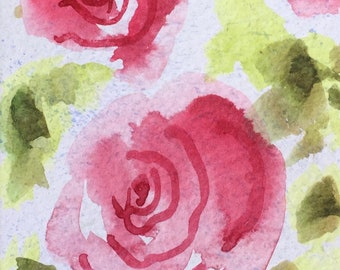 Floral ORIGINAL Miniature Watercolour 'Roses' ACEO, Flowers, Pink, Green, For him, For her, Home Decor, Wall Art, Gift Idea, Free Shipping