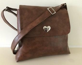 Leather vegan satchel ,across body ,leather bag ,