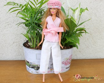 Original clothes for Barbie, pants, jacket and hat set. hand made
