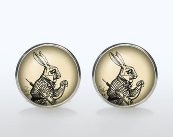 White Rabbit cufflinks Silver plated Alice in wonderland vintage cuff links Accessories for men and women antique jewelry black white