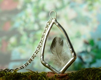 feather necklace, glass hippie pendant, nature terrarium jewelry, gift for her, real feather jewelry, valentines gift