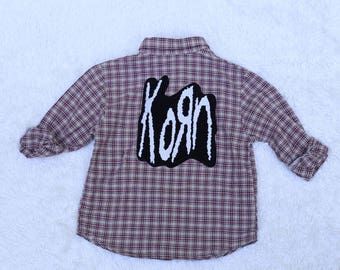 Upcycled Punk Rock full back Patched flannel, 4T