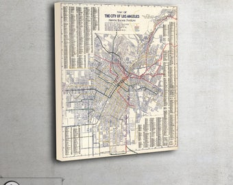 "Vintage Wall map of Los Angeles, California, 1906 - interior map design, home decor - large art print up to 42"" x 47"" - 112"