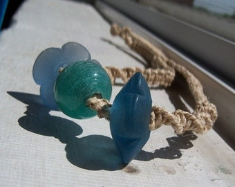 Natural Hemp with Blue Flower Glass Beads
