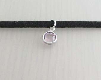 Birthstone Crystal Black Faux Suede Choker Necklace, Personalised 3mm Width Black Faux Suede Choker Necklace, Swarovski Crystal Charm
