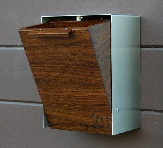 modern wall mount mailbox. Modern Mailbox Narrow, Teak Wall Mounted Mailbox, Narrow Size Mount I
