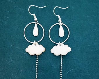 Earrings white enamel cloud and raindrop white - silver color Metal