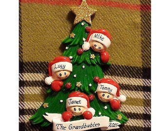 Personalized Christmas Ornament 4 Kids and a Christmas Tree - Family Christmas Ornament - Gift or Mom/Grandma/Family Friend - Family of 4