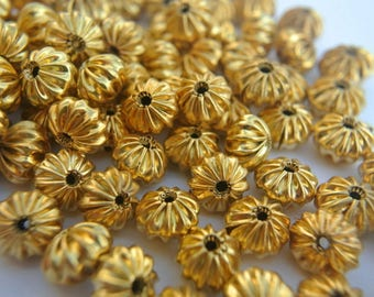SALE-50 Vintage metal beads 9mmx7mm gold color