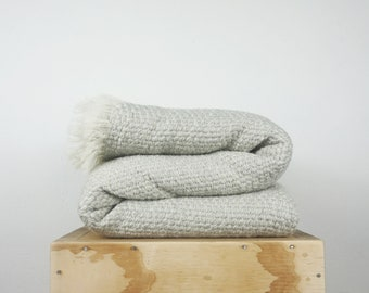 Pearl Gray throw blanket, Large wool woven Coverlet, Soft Comfy bedspread, Fluffy Couch Cover