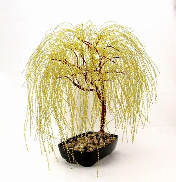 Or saule pleureur bonsaï perlée verre et fil darbre