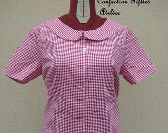 Red gingham Peter Pan collar shirt