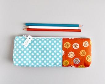 Pencil Case Orange and Aqua Pencil Pouch Organizing Back to School Student