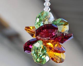 m/w Discontinued Swarovski® Crystal Ruby Green Orange Rear View Mirror Suncatcher Car Mirror Charm Car Ornament