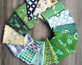 Cotton and Steel Green Colorway FQ Bundle of 14