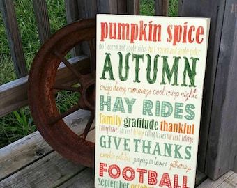 Wooden Autumn Sign - Rustic Fall Sign - Wood Autumn Wall Decor - Distressed Autumn Subway Sign - Fall Typography - Fall Home Decor -Football