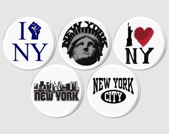 5 New York City Buttons or Fridge Magnets, Statue of Liberty Pins, NYC Pinback Favor, NYC Theme Party Gift, I Love New York Badge - BB2110