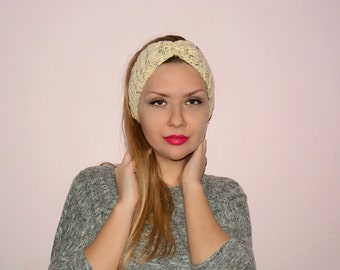 Creamy headband, Hand knit headband, Turban, Ear warmer, Women headband