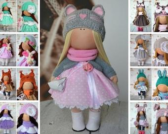 Tilda doll Handmade doll Rag doll Art doll Fabric doll Interior doll Pink doll Soft doll Nursery doll Cloth doll Collectable doll by Olga