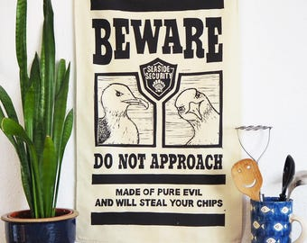 Evil Seaside Seagull Tea Towel - From Linocut, 100% Cotton Kitchen Towel, Bird Lover Gift, Tea Towel, Funny Dish Towel, Mum Gift, Brighton