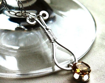 Golden Citrine 8x10mm Faceted Stone Hand Crafted Sterling Wire Wrapped Pendant