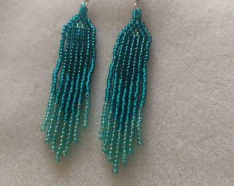 Sea Blue Boho Striped Seed Bead Earrings