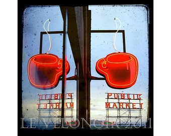 Seattle,Pike Place Market,Double Espresso, Coffee at the Market, Post Alley, UNMATTED 8x8 fine art print