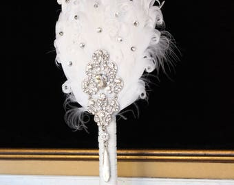 GATSBY Feather Fan 20s Bridal brooch Bouquet BRIDESMAID 1920s Wedding Feather Bouquet White Bouquet art deco wedding Roaring 20s Bouquet