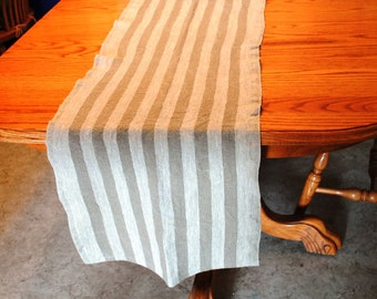 Rustic Linen Table Runner Table Linens Striped Brown Beige Prewashed Heavy Linen