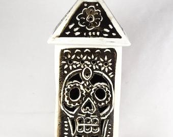 Day of the Dead, Skull & Daisy Flowers, Tea Light Lantern