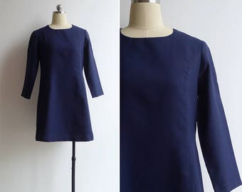 Vintage 80's Navy Blue Shift Dress with Three Quarter Sleeves S or M