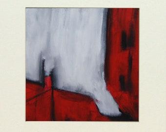 abstract art, modern art,acrylic, small art,white, red, original, contemporary art, wall art, painting, canvas