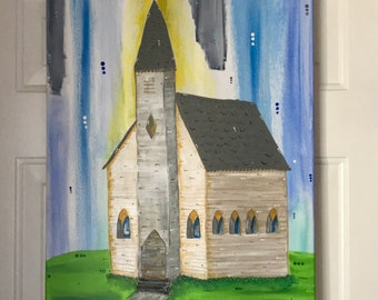 Church painting, abstract church painting, old church, old church painting, Easter Sunday, easter morning, painting,