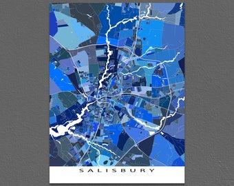 Salisbury Maryland, Salisbury Map Art Print, USA City Maps