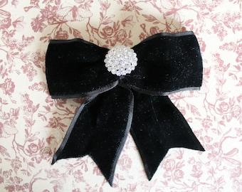 Rhinestone Brooch with Velvet Bow / Black velvet Brooch / Vintage velvet bow