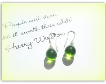 Teardrop Olive Lime Green Czech Crystal Earrings