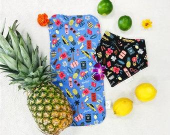 Baby Girl Bib Set - Pineapple Bib - Bandana Bib - Baby Bandana Bib - Burp Cloth - Pineapple Bib - Lemon Bib
