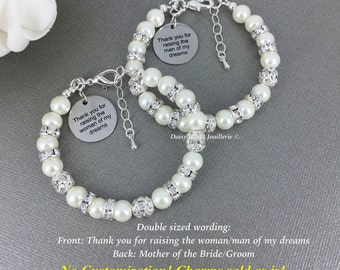 Thank you for raising the man/woman of my dream Mother of the Bride Bracelet Mother of the Groom Bracelet Mother in Law