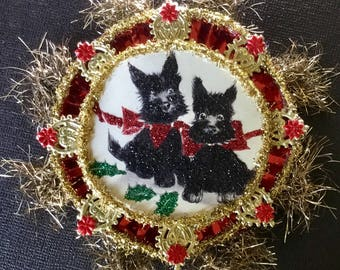 Handmade Victorian or Vintage Look Christmas Ornament-Scotty Dogs,German Dresdens,Vintage Tinsel,Vtg Reflector,German Tinsel