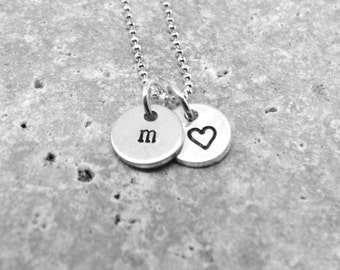 Sterling Silver Initial Charm Necklace, Letter m Necklace, Tiny Heart Necklace, Personalized Jewelry, Sterling Silver Jewelry, Monogram