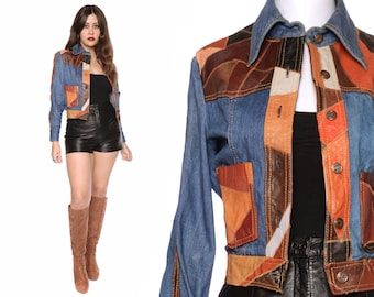 Patchwork Jacket 70s Denim Leather Crop Jacket Pointed Collar Multicolor 1970s Hippie / Size S M Small Medium