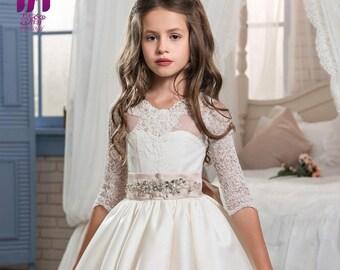 Girl's Floor-Length Long-sleeve White Lace Wedding Dress