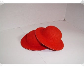 Red Felt Hat/ *Small Doll Size/ Single OR Set of 2/ Craft Supplies*
