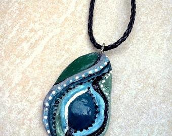 Blue fantasy clay necklace Abstract boho necklace Blue Boho pendant Blue Boho necklace Blue clay necklace Hand painted necklace Boho jewelry
