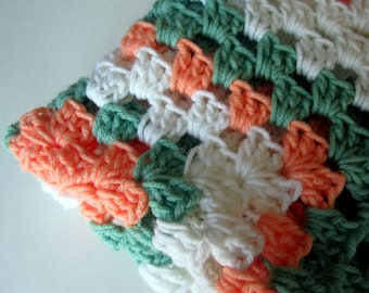 Crochet Granny Square Baby Blanket Ready to Ship