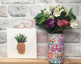 Pineapple card - pineapple embroidery - art print - blank card - notecard