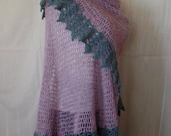 Vintage Pink Boucle Crochet Shawl with Grey Lace Trim- OoAK