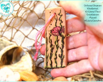 Pufferfish Driftwood Art Ornament, Pyrography and Pencil, #DWOR8