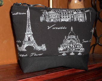 Paris Sketches Travel Tote / Black and White Toiletry Bag / Paris in Chalk Toilette Bag/ Organizer / Storage Bag