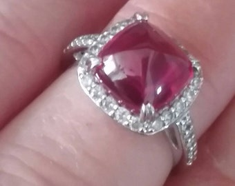 Art Deco Style Ruby Cabochon Ring